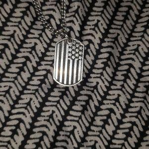 Silver American flag dog tag